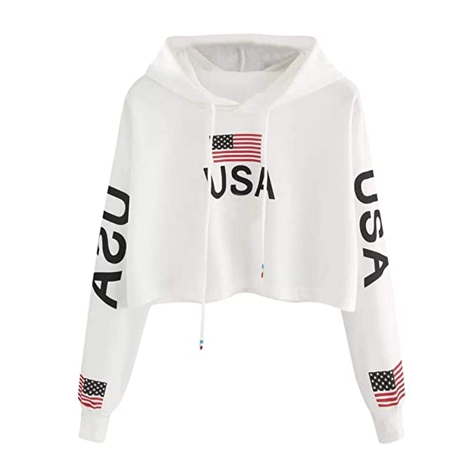 JPOQW autumn Women's Hoodie Sweatshirt Pullover USA Flag Print Casual White Blouse Top