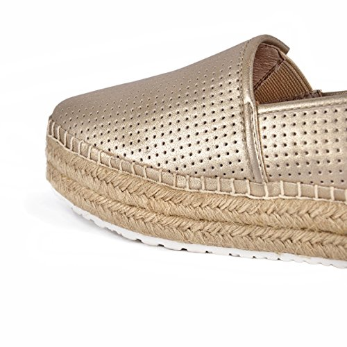 Women's Onlymaker Chic Gold Toe Round Platform Fashion Ventilate Double Sole Sneakers Espadrille FqwSq