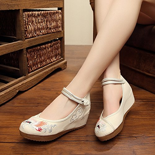 Crested Chinese Embroidery Shoes Oxfords Wedge Platform Beige Ibis Sandals Womens TA5nHOqq
