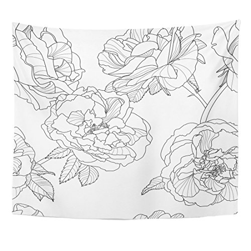 (Emvency Tapestry Line Floral Black and White with Outline Rose Flowers Design Linear Home Decor Wall Hanging for Living Room Bedroom Dorm 50x60 inches )