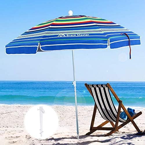 Brace Master Beach Umbrella, 6.5ft Sand Anchor with Tilt Aluminum Pole, Portable UV 100 Protection Beach Umbrella with Carry Bag for Outdoor Patio, Color Stripes