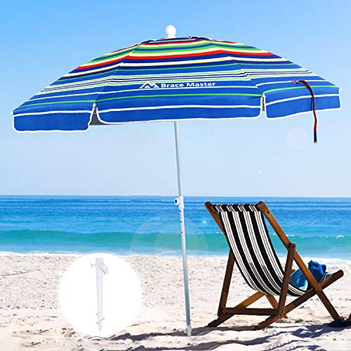 Brace Master 6.5ft Beach Umbrella With Sand Anchor Uv 100+ Beach Umbrellas For Sand Heavy Duty Wind Hollowing Out Design With Tilt Aluminum Pole Portable Outdoor Sunshade Umbrella With Carry Bag