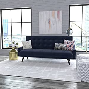 Oakland Click Clack Stylish and Modern Tufted Futon Sofa Bed (Navy Blue Velvet)