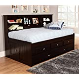 Discovery World Furniture Twin Bookcase Daybed with 3 Drawers and Twin Trundle, Espresso