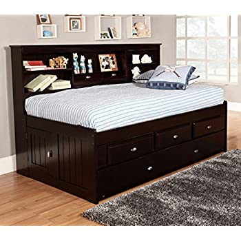 acme furniture 37225t renell twin bed with bookcase trundle black silver. Black Bedroom Furniture Sets. Home Design Ideas