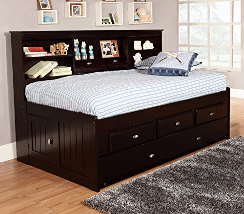 Discovery World Furniture Twin Bookcase Daybed with 3 Drawers and Twin Trundle, Espresso Espresso Trundle