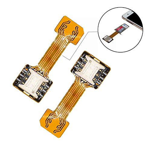 Dual SIM Card Nano SD Adapter(2 Pcs) for Samsung Huawei Xiaomi Lenovo,Ultra-Slim Gold SIM Extender for Android Smartphone