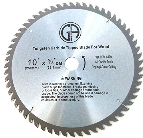 2pk 10-inch 60 tooth Tungsten Carbide General Purpose Table Cross Cutting Ripping Circular Saw Blade for Wood with Nails by Bargainwarehousesale (Blade Circular Nail Saw)