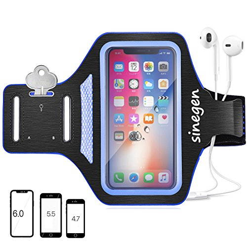 Sinegen Armband for Sport Running Gym Fitness, 6 Inch Case for iPhone X/8/7/7Plus, Galaxy S8Plus/S8/S7/S6 with Water Resistant, Fingerprint Touch, Card Holder/Key Holder/Earphone Holder - Black (Touch Sport Armband)