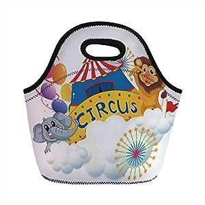 Borsa da pranzo portatile, arredamento da circo, illustrazione di un leone e un elefante vicino al circo Segnaletica… 7 spesavip