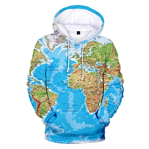 Sweatshirt for Men 3D Print World Map Hooded Tops Blouse with Pockets O-Neck Hoodies Pullover Outwear WEI MOLO