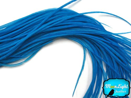 Moonlight Feather, Hair Extension Feathers - Solid Teal - 11.5+ Inches Long - 6 Pieces
