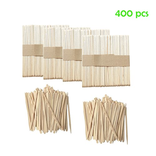 Qorol 400 Pieces Wax Applicator Sticks Wood Spatulas Applicator for Eyebrow Hair Removal (200 Pieces Large and 200 Pieces Small)