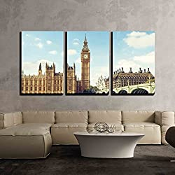 wall26 - 3 Piece Canvas Wall Art - Big Ben in Sunny Day, London - Modern Home Decor Stretched and Framed Ready to Hang - 16x24x3 Panels