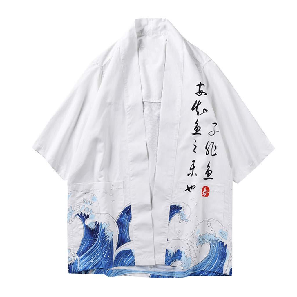 Men's Japanese Harajuku Fish Printed Kimono Cardigan Jackets Streetwear