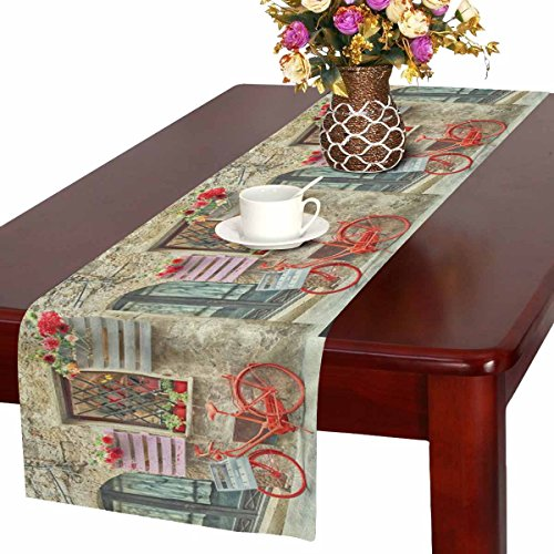 Italian Runner - InterestPrint European Red Bike Bicycle in Italian Medieval Town Table Runner Linen & Cotton Cloth Placemat Home Decor for Wedding Banquet Decoration 16 x 72 Inches