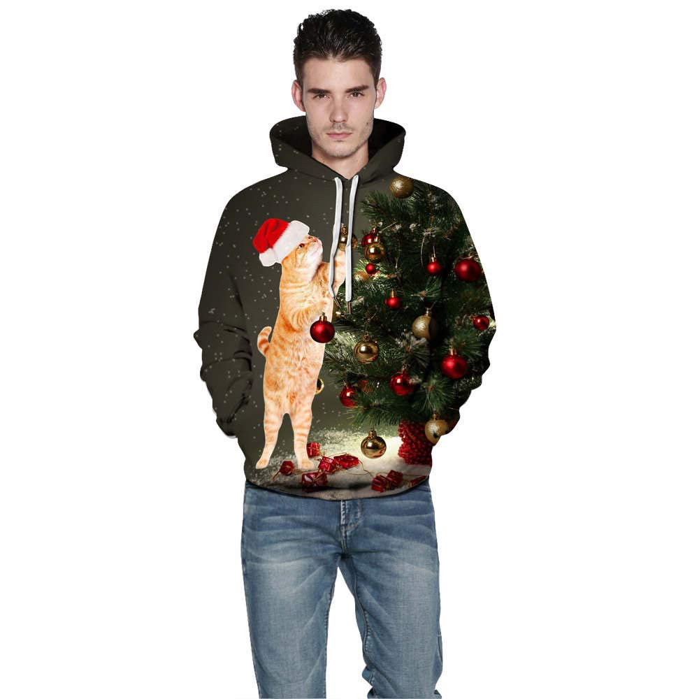 Clothing & Accessories COTTONI-Tops Sweatshirts for Women Hoodie Pullover,3D Christmas Print Couples Hoodies