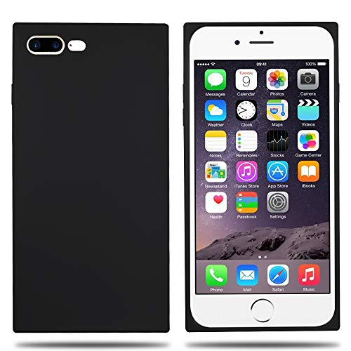 Clouds Compatible iPhone 7 Plus Case,iPhone 8 Plus Case Ultra Slim Lightweight Classic Square Design Durable Soft Rubber TPU Silicone Gel New Simple Case for Apple iPhone 7/8 Plus 5.5 inch-Black