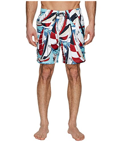 Nautica Print Trunk (Nautica Men's Quick Dry Full Elastic Waist Signature Print Swim Trunk, Red, X-Large)