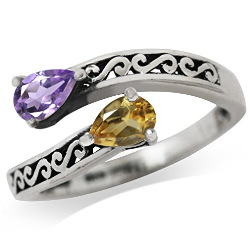 Natural Citrine & Amethyst 925 Sterling Silver Filigree Bypass Ring Size 8