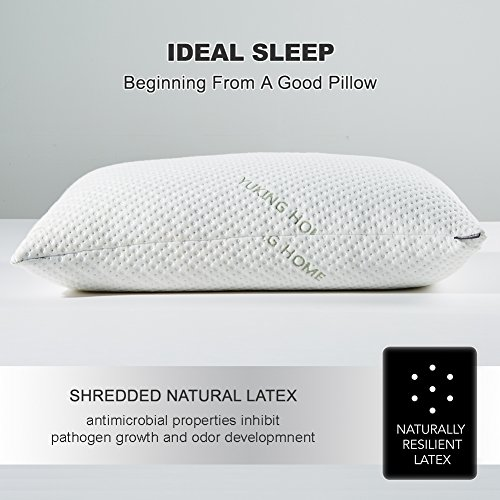 Yuking Home Bed Pillows for Sleeping Neck Pain Relief, Adjustable Loft Shredded Latex Pillow for Side Back Stomach Sleeper with Hypoallergenic Removable Bamboo Case (Latex, Queen)