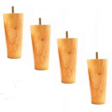Wood Furniture Legs Set Of 4 Sofa Legs Natural Color Tapered Legs