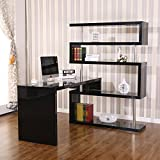 NEW Glossy Black Hollow Core Hobby Corner Desk Computer Table Rotating 4 Tier Shelf Combo Adjusted