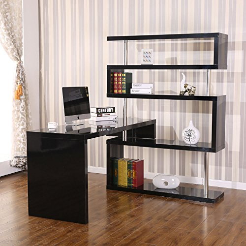 HomCom Rotating Home Office Corner Desk and Storage Shelf Combo - -