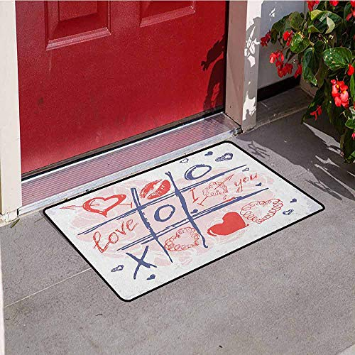 GloriaJohnson Valentines Day Universal Door mat XOXO Game with Lips Sketchy Circles Hearts Romantic Love Theme Door mat Floor Decoration W23.6 x L35.4 Inch Blue Red and White