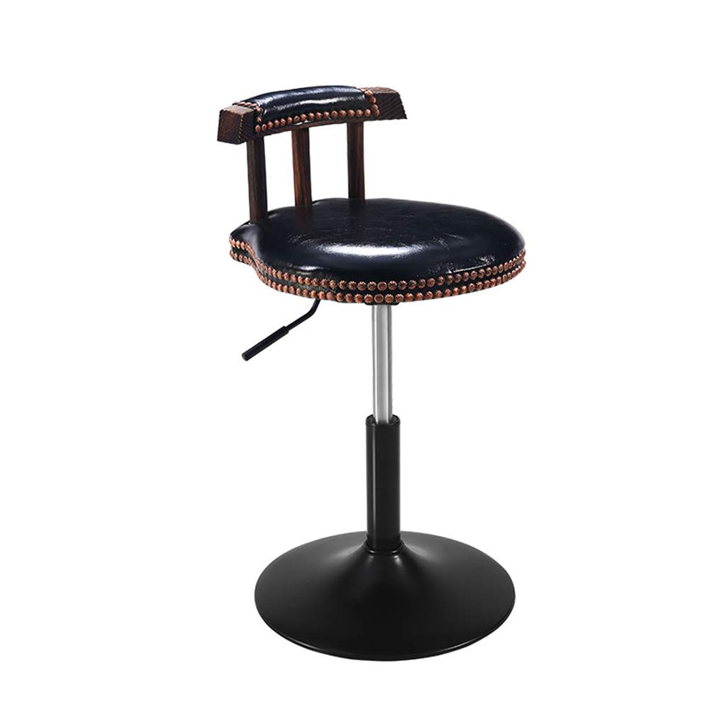 Black XLZ Bar Stool American Retro PU Leather Hydraulic Lift Adjustable Counter Dining Chair Black Leather Swizzle Low Stool 40-53CM Counter Chair,Breakfast Stool, (color   Black)