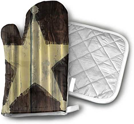 ZYB Southwestern Primitive Rustic Wooden Lone Star Sheriff's Badge Oven Gloves and Insulation Pads, Kitchen Heat Resistant, Cotton Lining Non-Slip Rubber Surface Oven Gloves