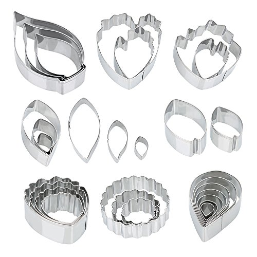 Ogori 26 Pcs Stainless Steel Flower Cookie Cutters Set,Fantastic Cake Decorating Kit, Fondant Cutter Cake DIY Tools,Best Modelling Tools For Holiday Party Wedding And Birthday (Fantastic Party Cakes)