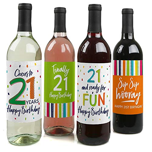 21st Birthday - Cheerful Happy Birthday - Colorful Twenty-First Birthday Party Decorations for Women and Men - Wine Bottle Label Stickers - Set of 4