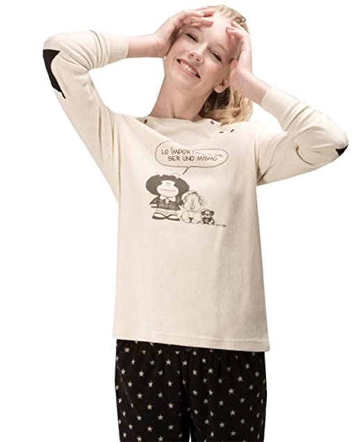 Pijama MAFALDA Mujer Micropolar GISELA Crema (S)