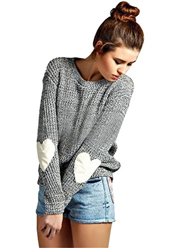 - Futurino Women's Heart Patchwork Elbow Crewneck Marled Knitted Pullover Sweater