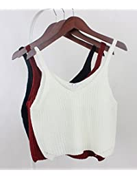 Buenos Ninos Women's Loose-Fit Tank Top V-neck Sexy Cotton Midriff Crop Top Shirt