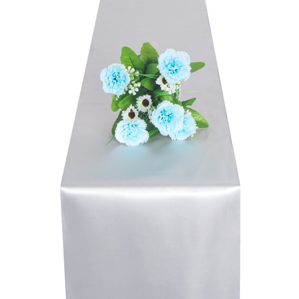 OMG_Shop Modern Wedding Satin Table Runner Cover Cloth Banquet Decoration 10 Pack (1 pcs Silver)