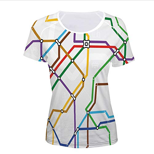 T-Shirt Pictures Print,Metro Scheme Subway Stations Abstract Railroad,Women