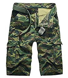 Lega Mens Lega Mens Summer Multi Pocket Pants Cotton Camouflage Cargo Shorts(Army Green Camouflage/30)