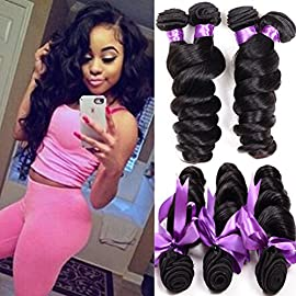 Loose Wave Brazilian Hair 8A Brazilian Loose Wave 3 Bundles Unprocessed Human Hair Extensions Mink Hair Bundles Wet and Wavy Human Hair Natural Black (8+10+12)