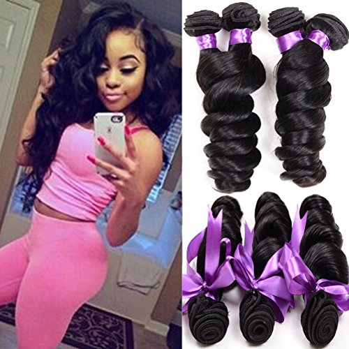 Shireen Hair Grade 8A Brazilian Loose Wave 3 Bundles 16 18 20 Inches 300grams Unprocessed Human Hair Extensions Wet and Wavy Human Hair Natural Black (Brazilian Bundle)