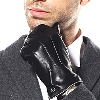 Elma Men's Touchscreen Texting Winter Italian Nappa Leather Gloves (8, Black (2014 Winter New Cashmere Lining))