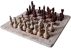 "Red Onyx and Fossil Marble Chess Set in Velvet Gift Box 12""x12"""