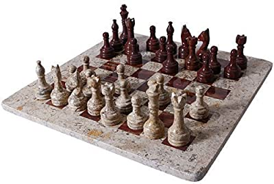 RADICALn Handmade Fossil Coral and Dark Brown Marble Full Chess Game Original Marble Chess Set