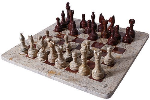 Chess Onyx Red Set (RADICALn Handmade Fossil Coral and Dark Brown Marble Full Chess Game Original Marble Chess Set)