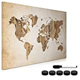 Navaris Magnetic Whiteboard Memo Board - 60 x 40 cm Writable Dry Erase Notice Message Board for Wall with Magnets and Marker - Vintage World Map
