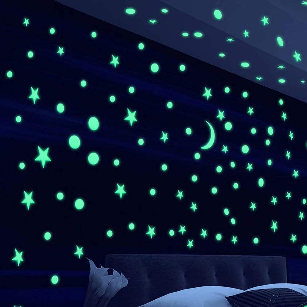 Alrens Stars DIY Mirror Wall Stickers Home Decoration Living Room Bedroom Bathroom Glow in The Dark Stars Stickers