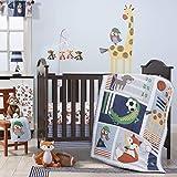 Bedtime Originals Baby League Sports Animals 3 Piece Crib Bedding Set, Blue/Gray