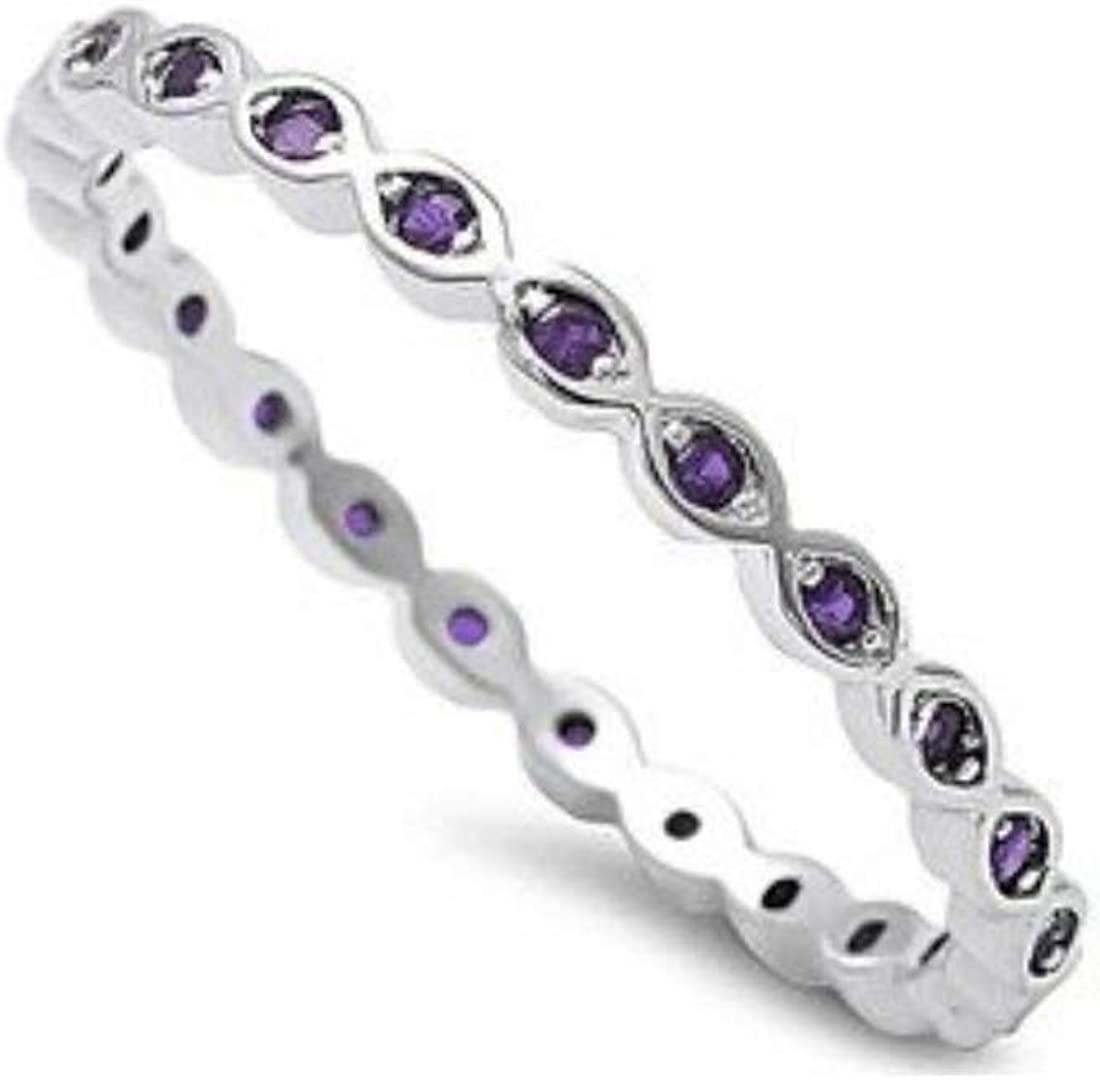 Blue Apple Co. 2mm Full Eternity Stackable Band Ring 925 Sterling Silver Choose Color