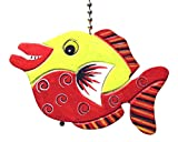 Gatton Lime Green and Red Tropical Fish Ceiling Fan Light Pull Hand Carved Wood